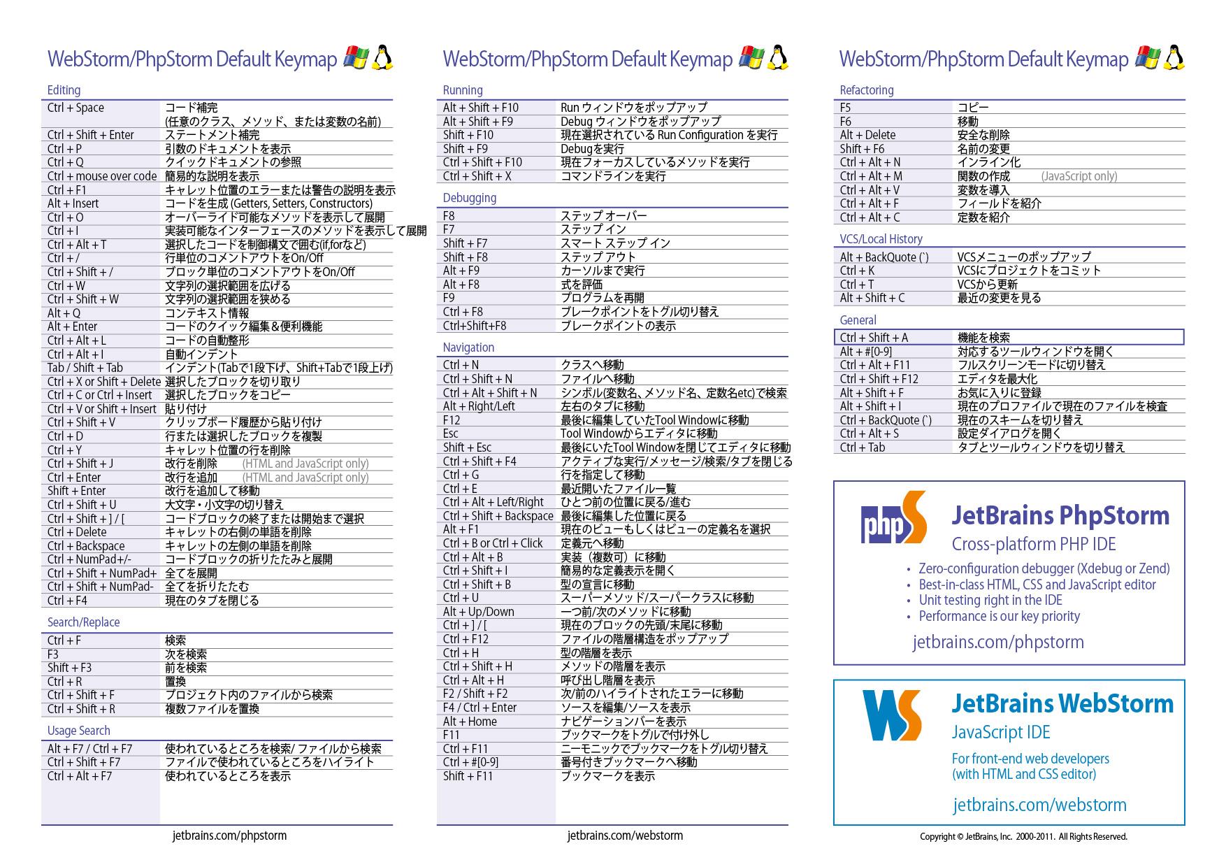 phpstormのチートシートを日本語化してみた mochipedia